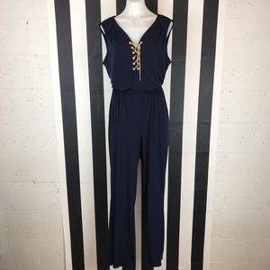 5 for $25 Spense Navy Gold Chain Lace Up Jumpsuit